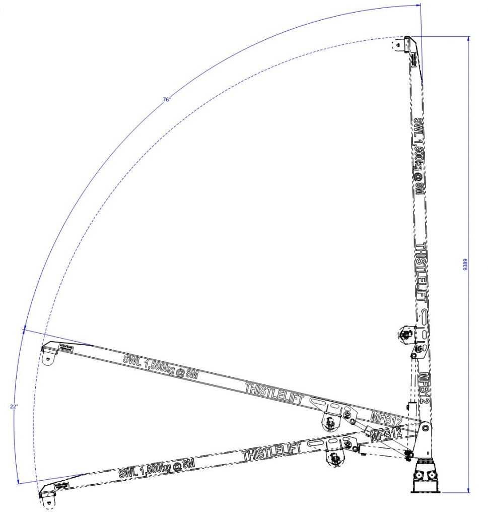 mfb12 landing crane rack and pinion drawing