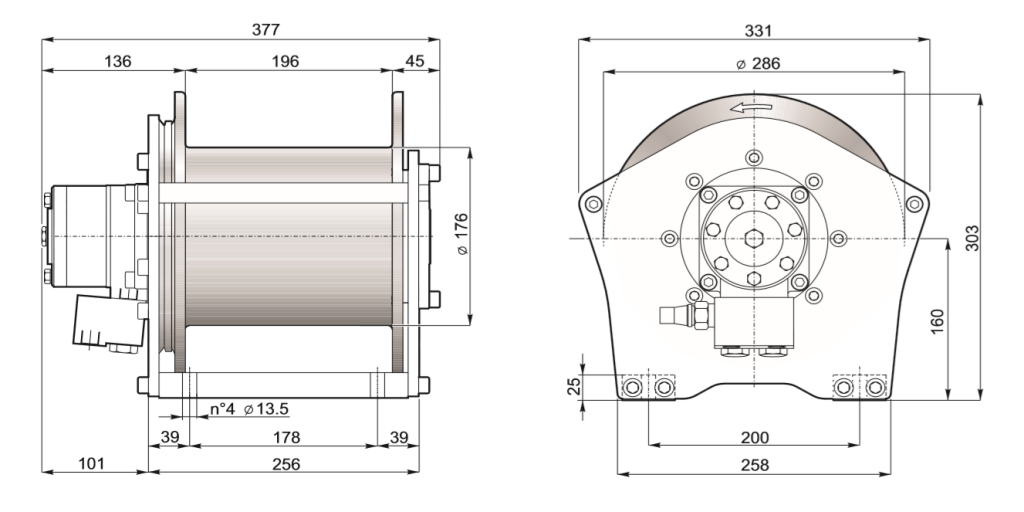 1250kg winch drawing